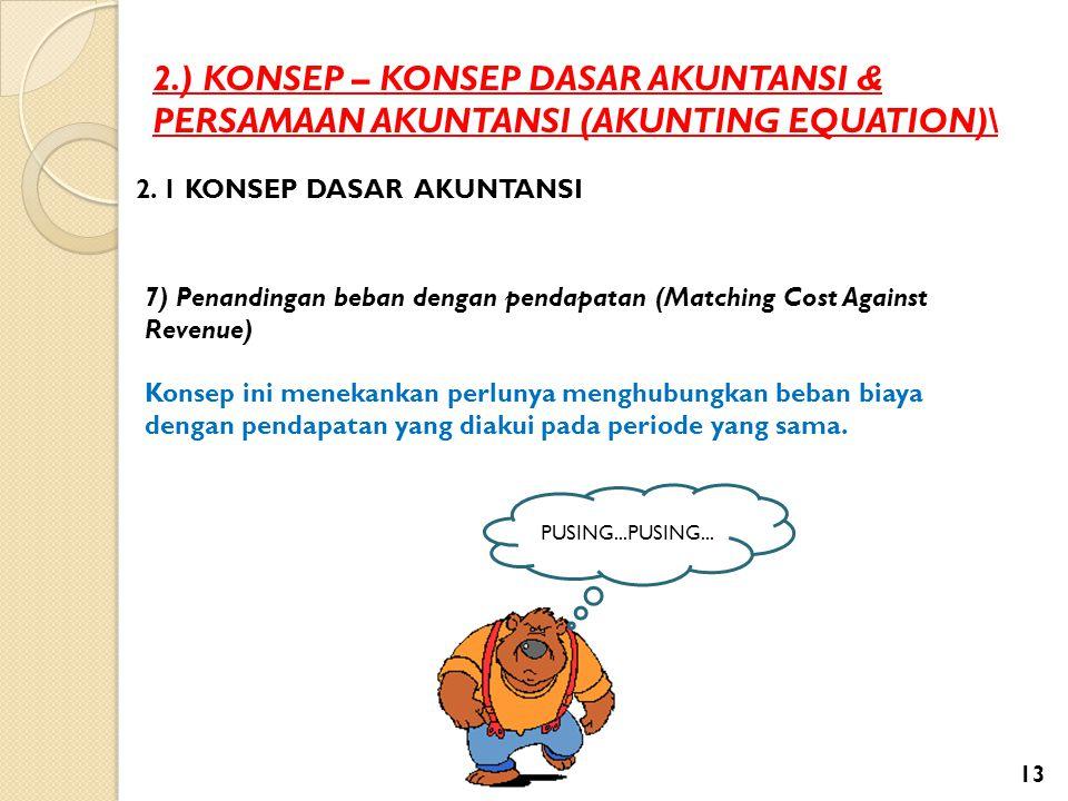 2.) KONSEP – KONSEP DASAR AKUNTANSI & PERSAMAAN AKUNTANSI (AKUNTING EQUATION)\ 2. 1 KONSEP DASAR AKUNTANSI 7) Penandingan beban dengan pendapatan (Mat