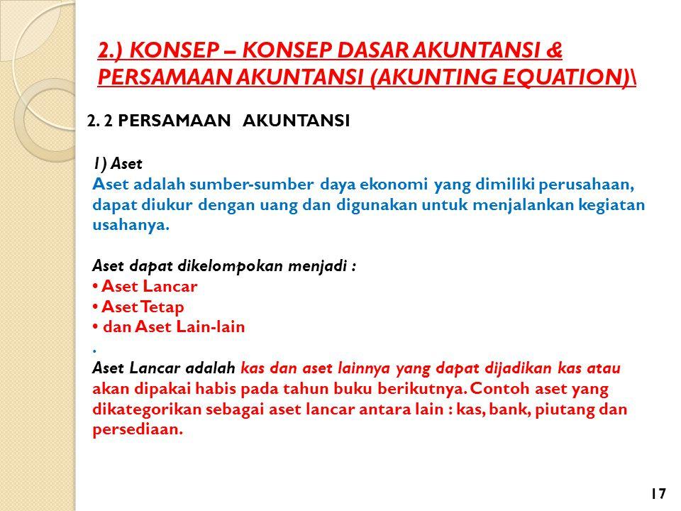2.) KONSEP – KONSEP DASAR AKUNTANSI & PERSAMAAN AKUNTANSI (AKUNTING EQUATION)\ 2. 2 PERSAMAAN AKUNTANSI 1) Aset Aset adalah sumber-sumber daya ekonomi