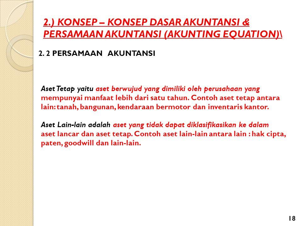 2.) KONSEP – KONSEP DASAR AKUNTANSI & PERSAMAAN AKUNTANSI (AKUNTING EQUATION)\ 2. 2 PERSAMAAN AKUNTANSI Aset Tetap yaitu aset berwujud yang dimiliki o