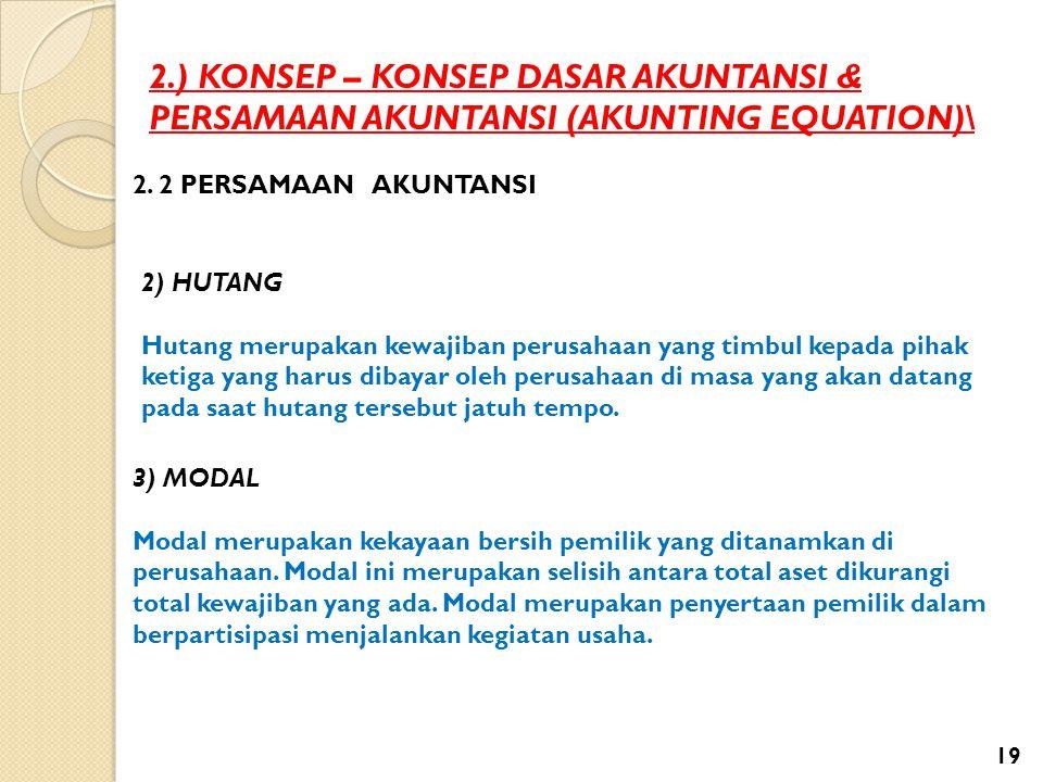 2.) KONSEP – KONSEP DASAR AKUNTANSI & PERSAMAAN AKUNTANSI (AKUNTING EQUATION)\ 2. 2 PERSAMAAN AKUNTANSI 2) HUTANG Hutang merupakan kewajiban perusahaa