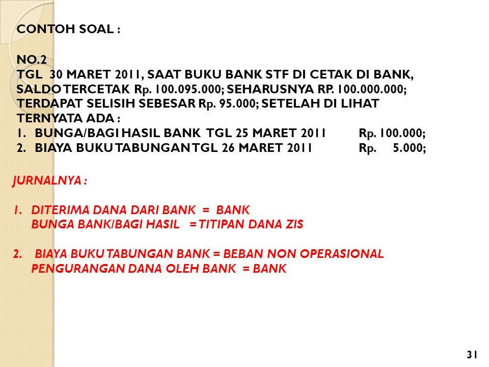 CONTOH SOAL : NO.2 TGL 30 MARET 2011, SAAT BUKU BANK STF DI CETAK DI BANK, SALDO TERCETAK Rp. 100.095.000; SEHARUSNYA RP. 100.000.000; TERDAPAT SELISI
