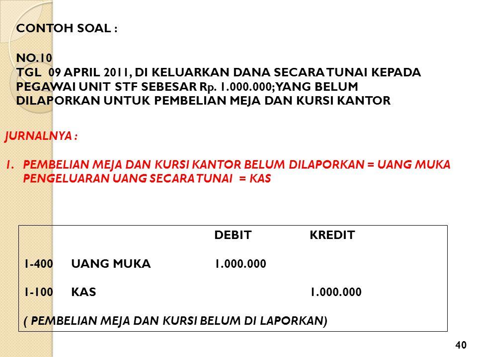 CONTOH SOAL : NO.10 TGL 09 APRIL 2011, DI KELUARKAN DANA SECARA TUNAI KEPADA PEGAWAI UNIT STF SEBESAR Rp. 1.000.000; YANG BELUM DILAPORKAN UNTUK PEMBE