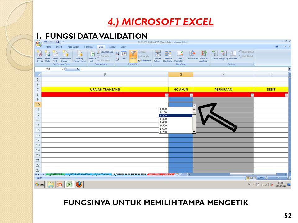4.) MICROSOFT EXCEL 1. FUNGSI DATA VALIDATION FUNGSINYA UNTUK MEMILIH TAMPA MENGETIK 52