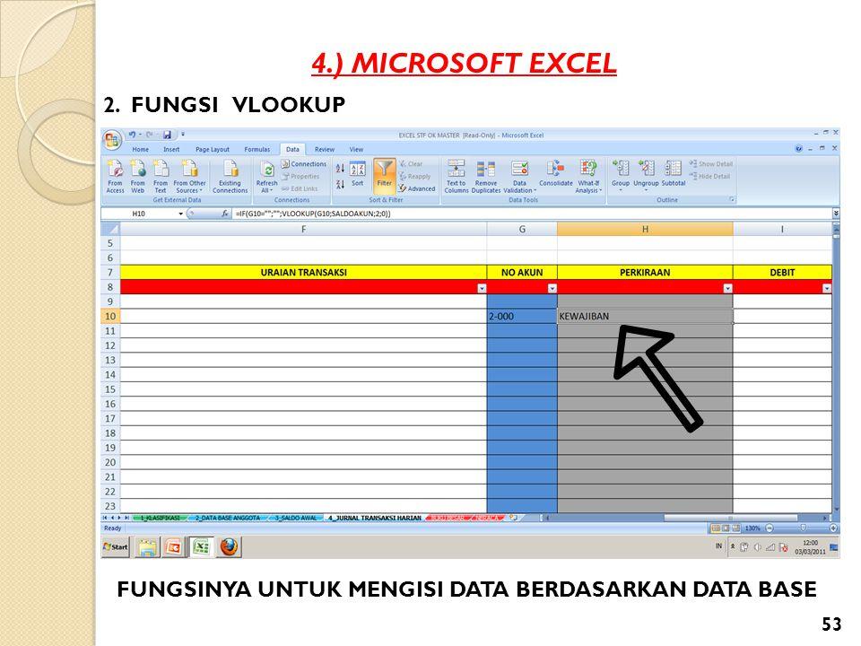 4.) MICROSOFT EXCEL 2. FUNGSI VLOOKUP FUNGSINYA UNTUK MENGISI DATA BERDASARKAN DATA BASE 53