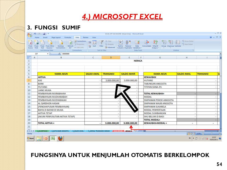 4.) MICROSOFT EXCEL 3. FUNGSI SUMIF FUNGSINYA UNTUK MENJUMLAH OTOMATIS BERKELOMPOK 54