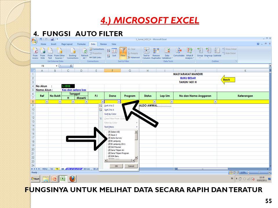 4.) MICROSOFT EXCEL 4. FUNGSI AUTO FILTER FUNGSINYA UNTUK MELIHAT DATA SECARA RAPIH DAN TERATUR 55