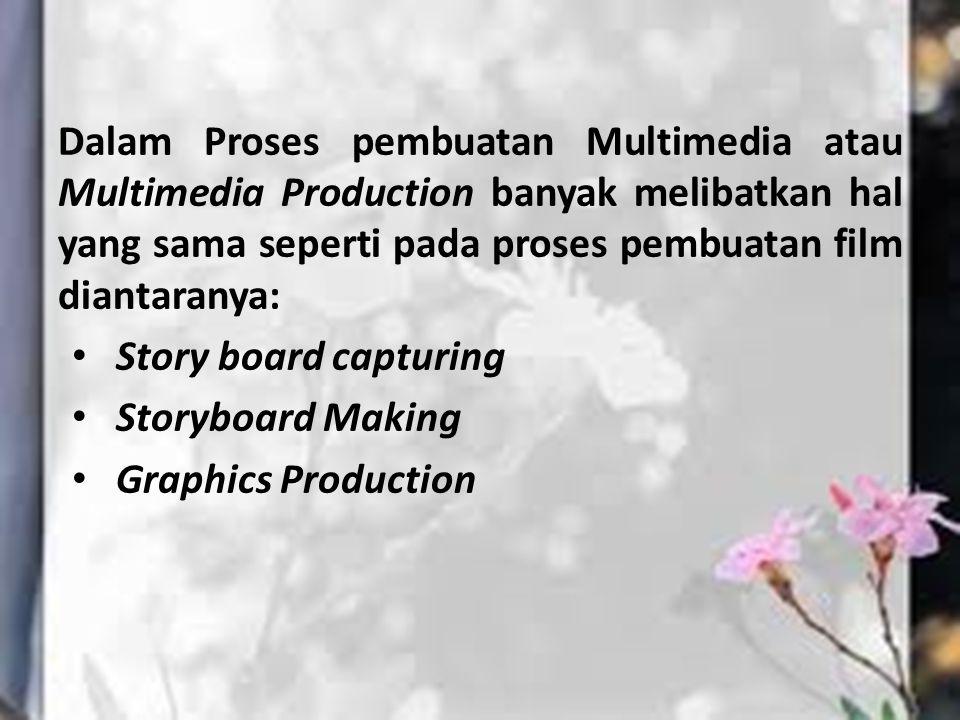 Dalam Proses pembuatan Multimedia atau Multimedia Production banyak melibatkan hal yang sama seperti pada proses pembuatan film diantaranya: Story boa