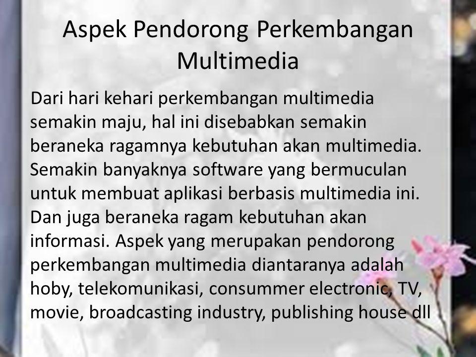 Aspek Pendorong Perkembangan Multimedia Dari hari kehari perkembangan multimedia semakin maju, hal ini disebabkan semakin beraneka ragamnya kebutuhan