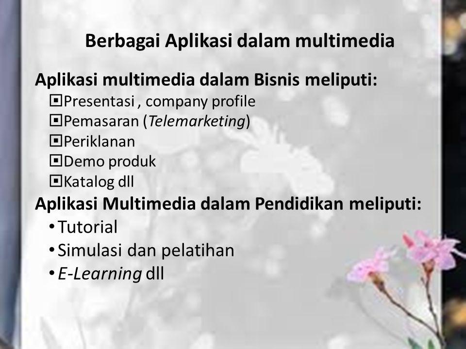Berbagai Aplikasi dalam multimedia Aplikasi multimedia dalam Bisnis meliputi:  Presentasi, company profile  Pemasaran (Telemarketing)  Periklanan 