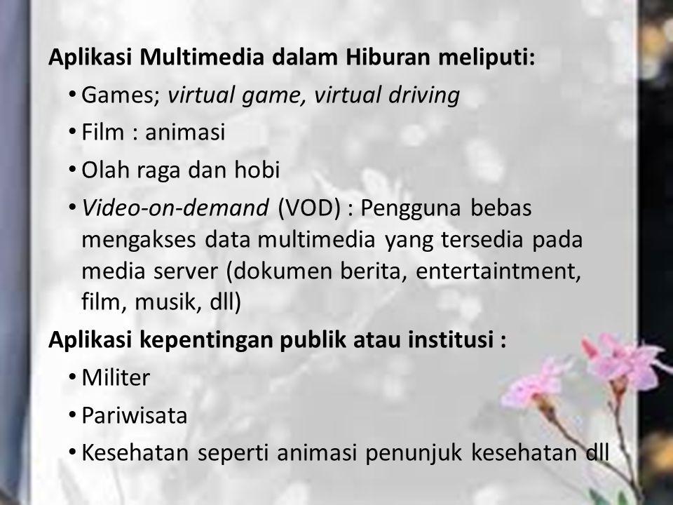 Aplikasi Multimedia dalam Hiburan meliputi: Games; virtual game, virtual driving Film : animasi Olah raga dan hobi Video-on-demand (VOD) : Pengguna be