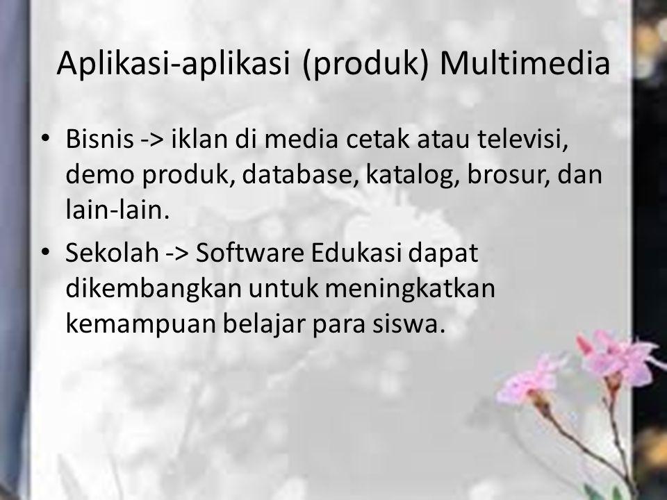 Aplikasi-aplikasi (produk) Multimedia Bisnis -> iklan di media cetak atau televisi, demo produk, database, katalog, brosur, dan lain-lain. Sekolah ->