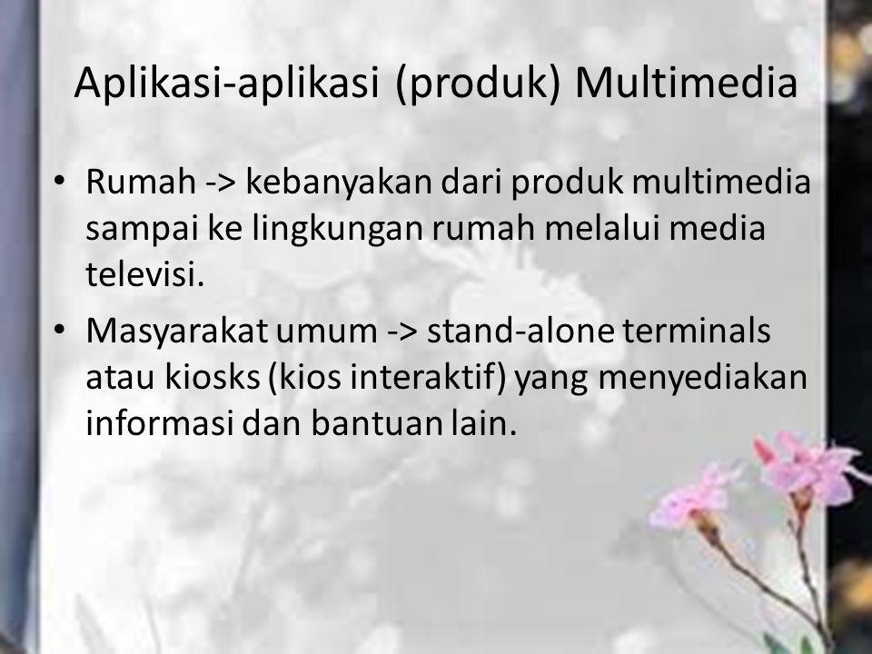 Aplikasi-aplikasi (produk) Multimedia Rumah -> kebanyakan dari produk multimedia sampai ke lingkungan rumah melalui media televisi. Masyarakat umum ->