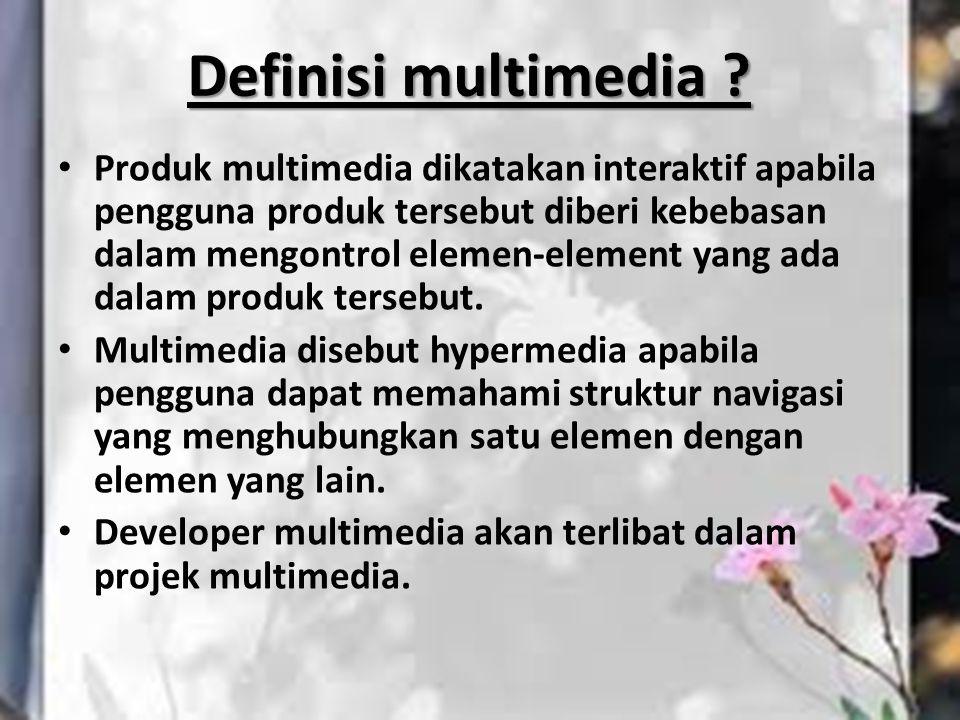 Produk multimedia dikatakan interaktif apabila pengguna produk tersebut diberi kebebasan dalam mengontrol elemen-element yang ada dalam produk tersebu