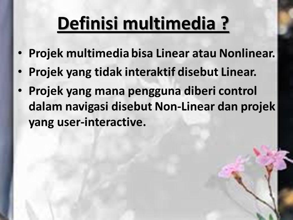 Projek multimedia bisa Linear atau Nonlinear. Projek yang tidak interaktif disebut Linear. Projek yang mana pengguna diberi control dalam navigasi dis