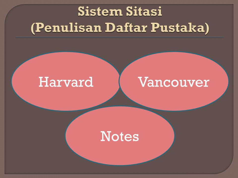 HarvardVancouver Notes