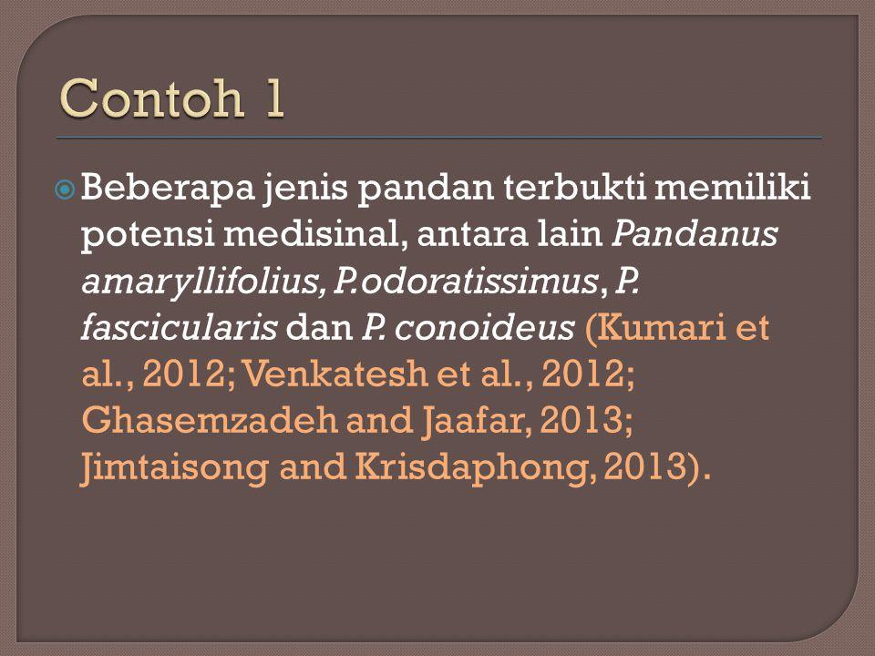  Beberapa jenis pandan terbukti memiliki potensi medisinal, antara lain Pandanus amaryllifolius, P.odoratissimus, P. fascicularis dan P. conoideus (K