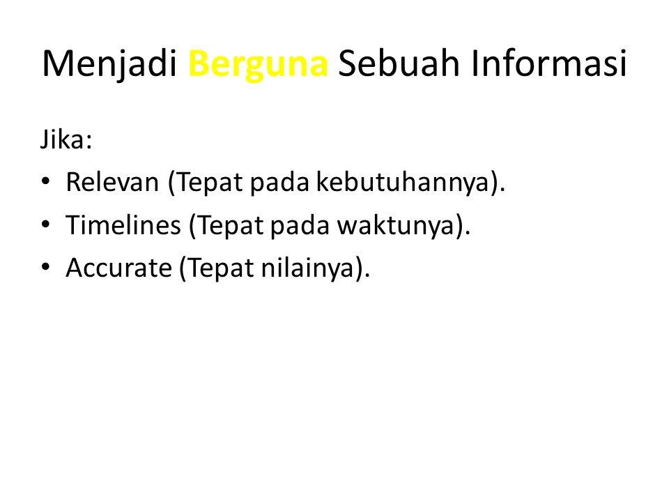 Menjadi Berguna Sebuah Informasi Jika: Relevan (Tepat pada kebutuhannya).