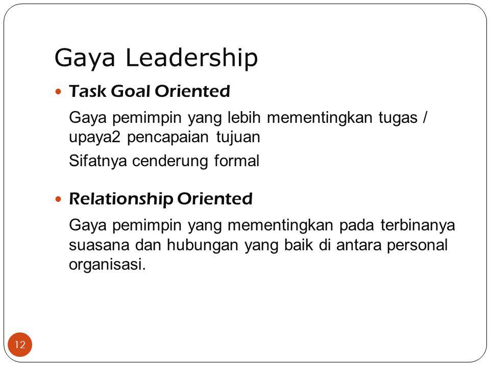 Gaya Leadership 12 Task Goal Oriented Gaya pemimpin yang lebih mementingkan tugas / upaya2 pencapaian tujuan Sifatnya cenderung formal Relationship Oriented Gaya pemimpin yang mementingkan pada terbinanya suasana dan hubungan yang baik di antara personal organisasi.