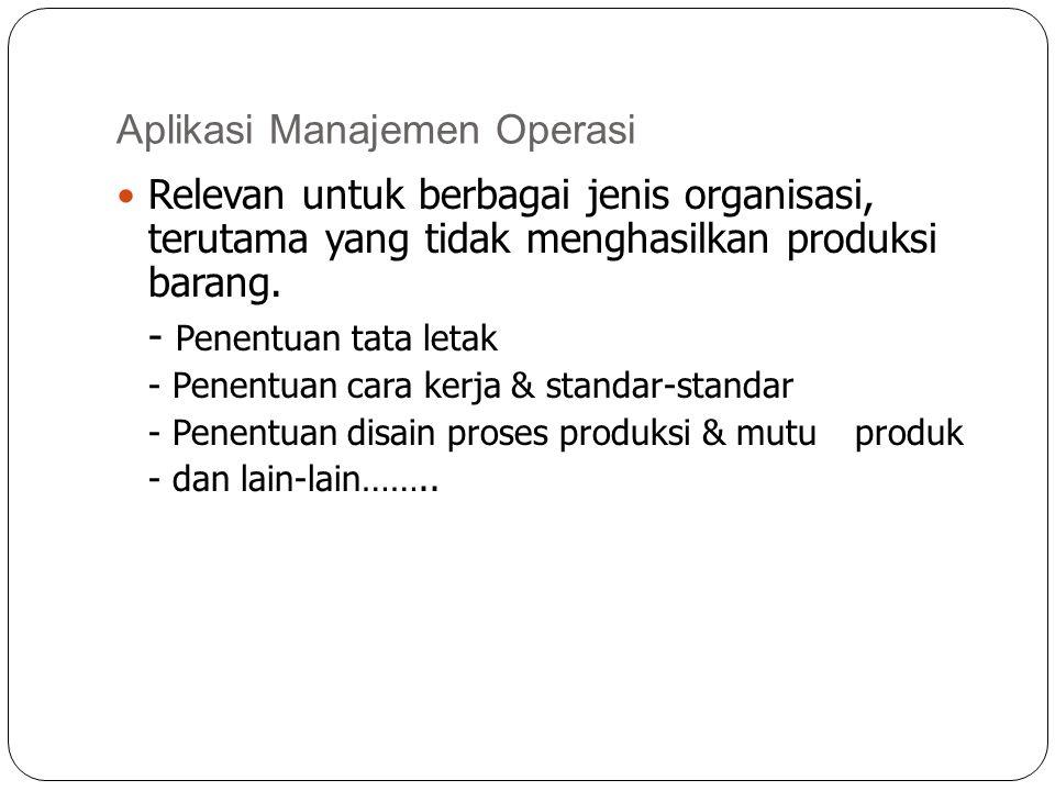 Aplikasi Manajemen Operasi Relevan untuk berbagai jenis organisasi, terutama yang tidak menghasilkan produksi barang. - Penentuan tata letak - Penentu