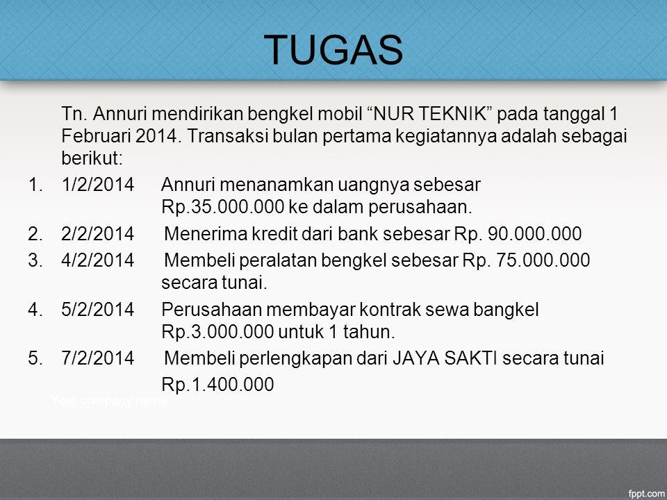 """TUGAS Tn. Annuri mendirikan bengkel mobil """"NUR TEKNIK"""" pada tanggal 1 Februari 2014. Transaksi bulan pertama kegiatannya adalah sebagai berikut: 1.1/2"""