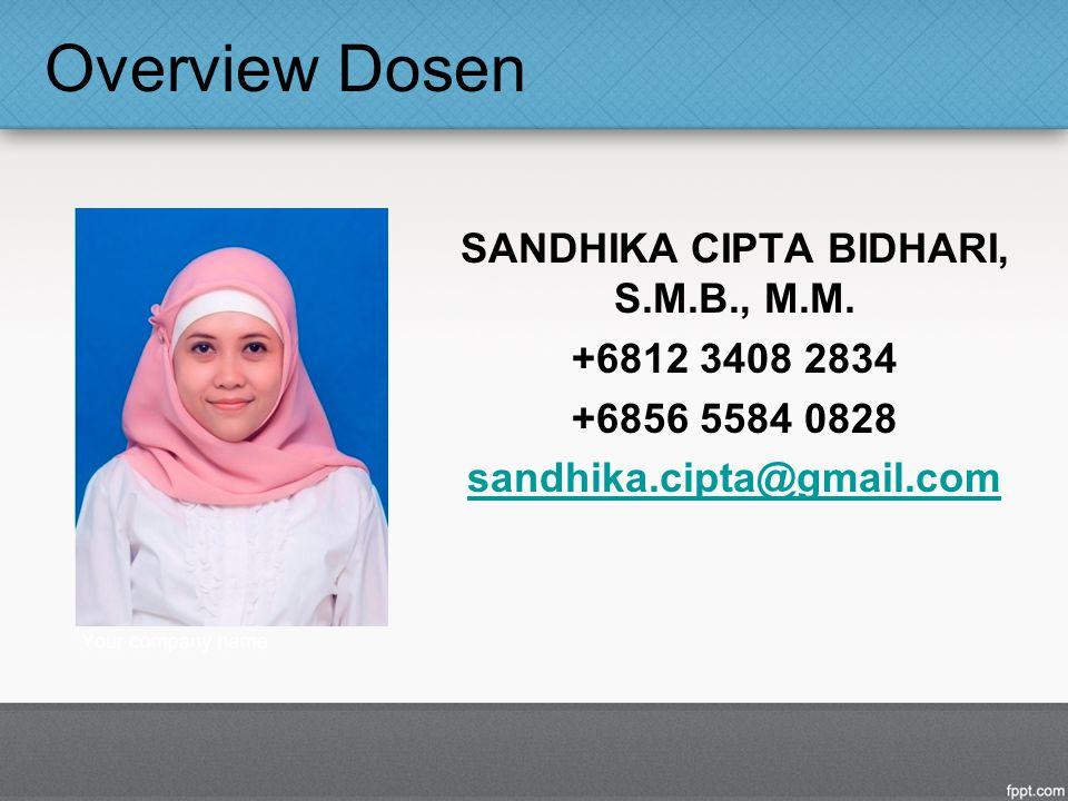 Overview Dosen SANDHIKA CIPTA BIDHARI, S.M.B., M.M. +6812 3408 2834 +6856 5584 0828 sandhika.cipta@gmail.com