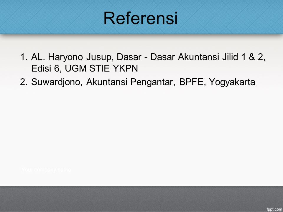 Referensi 1.AL. Haryono Jusup, Dasar - Dasar Akuntansi Jilid 1 & 2, Edisi 6, UGM STIE YKPN 2.Suwardjono, Akuntansi Pengantar, BPFE, Yogyakarta