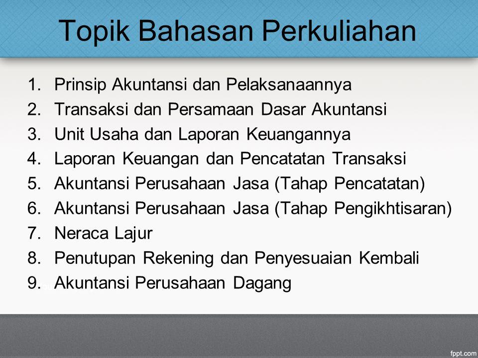 Topik Bahasan Perkuliahan 1.Prinsip Akuntansi dan Pelaksanaannya 2.Transaksi dan Persamaan Dasar Akuntansi 3.Unit Usaha dan Laporan Keuangannya 4.Laporan Keuangan dan Pencatatan Transaksi 5.Akuntansi Perusahaan Jasa (Tahap Pencatatan) 6.Akuntansi Perusahaan Jasa (Tahap Pengikhtisaran) 7.Neraca Lajur 8.Penutupan Rekening dan Penyesuaian Kembali 9.Akuntansi Perusahaan Dagang