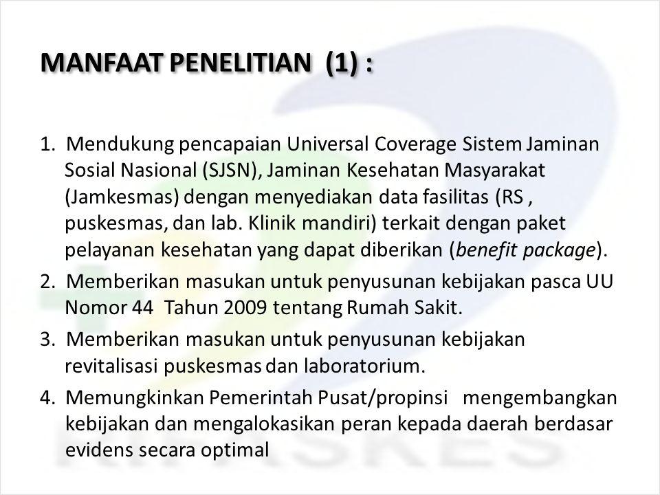 MANFAAT PENELITIAN (1) : 1. Mendukung pencapaian Universal Coverage Sistem Jaminan Sosial Nasional (SJSN), Jaminan Kesehatan Masyarakat (Jamkesmas) de