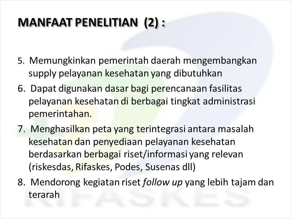 MANFAAT PENELITIAN (2) : 5. Memungkinkan pemerintah daerah mengembangkan supply pelayanan kesehatan yang dibutuhkan 6. Dapat digunakan dasar bagi pere