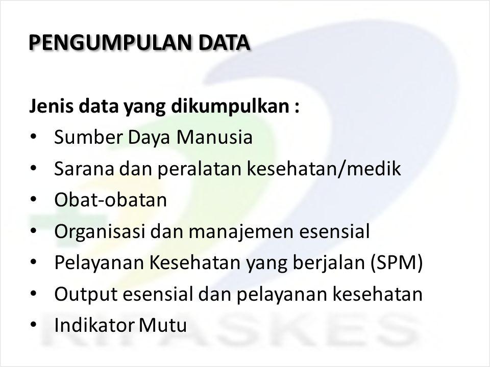 PENGUMPULAN DATA Jenis data yang dikumpulkan : Sumber Daya Manusia Sarana dan peralatan kesehatan/medik Obat-obatan Organisasi dan manajemen esensial
