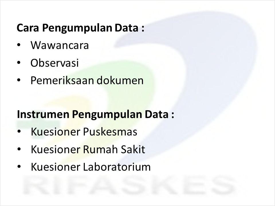 Cara Pengumpulan Data : Wawancara Observasi Pemeriksaan dokumen Instrumen Pengumpulan Data : Kuesioner Puskesmas Kuesioner Rumah Sakit Kuesioner Labor