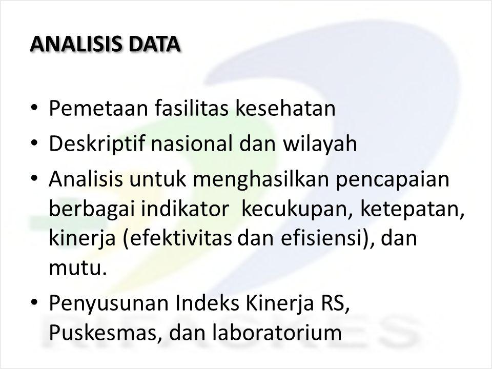 ANALISIS DATA Pemetaan fasilitas kesehatan Deskriptif nasional dan wilayah Analisis untuk menghasilkan pencapaian berbagai indikator kecukupan, ketepa