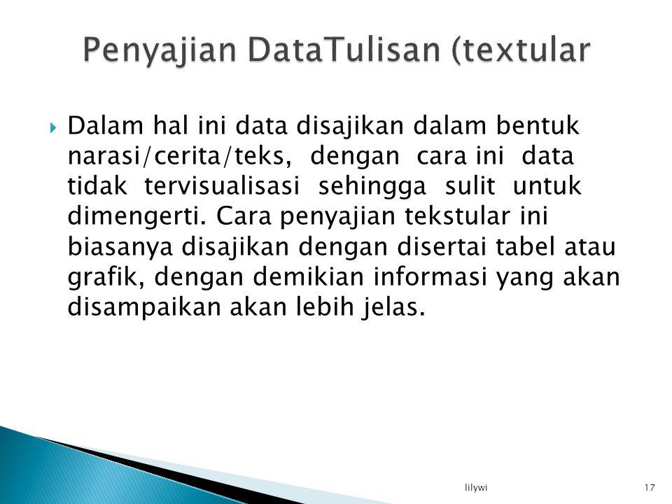  Dalam hal ini data disajikan dalam bentuk narasi/cerita/teks, dengan cara ini data tidak tervisualisasi sehingga sulit untuk dimengerti.
