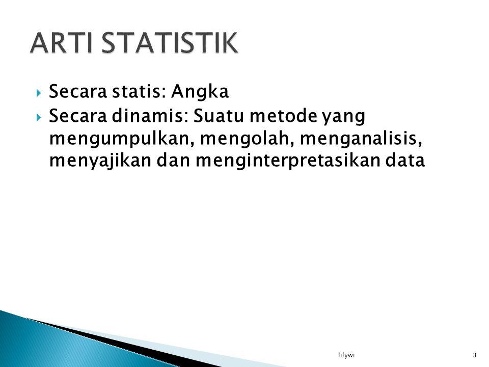  Secara statis: Angka  Secara dinamis: Suatu metode yang mengumpulkan, mengolah, menganalisis, menyajikan dan menginterpretasikan data 3lilywi