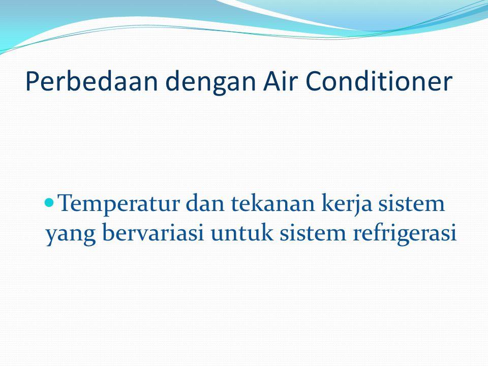 Perbedaan dengan Air Conditioner Temperatur dan tekanan kerja sistem yang bervariasi untuk sistem refrigerasi