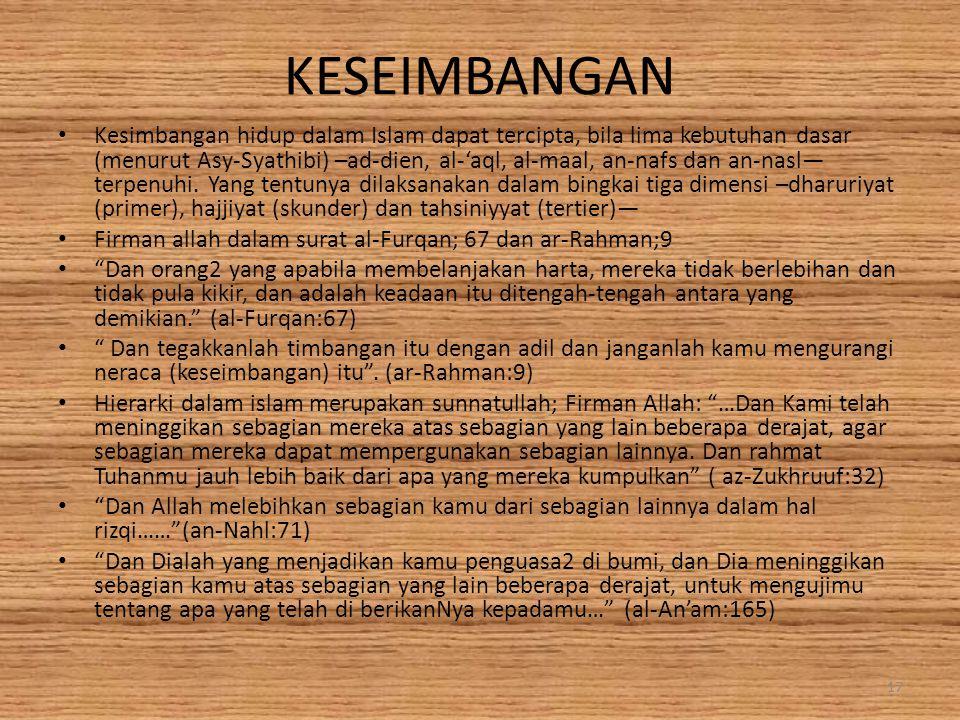 KESEIMBANGAN Kesimbangan hidup dalam Islam dapat tercipta, bila lima kebutuhan dasar (menurut Asy-Syathibi) –ad-dien, al-'aql, al-maal, an-nafs dan an