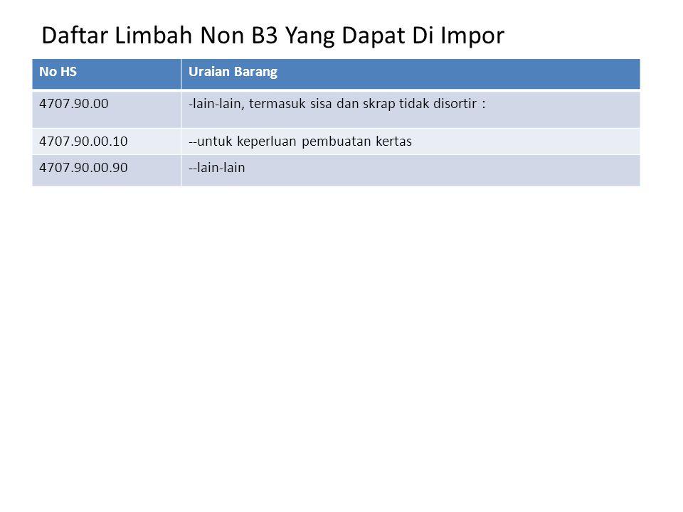 Daftar Limbah Non B3 Yang Dapat Di Impor No HSUraian Barang 4707.90.00-lain-lain, termasuk sisa dan skrap tidak disortir : 4707.90.00.10--untuk keperl