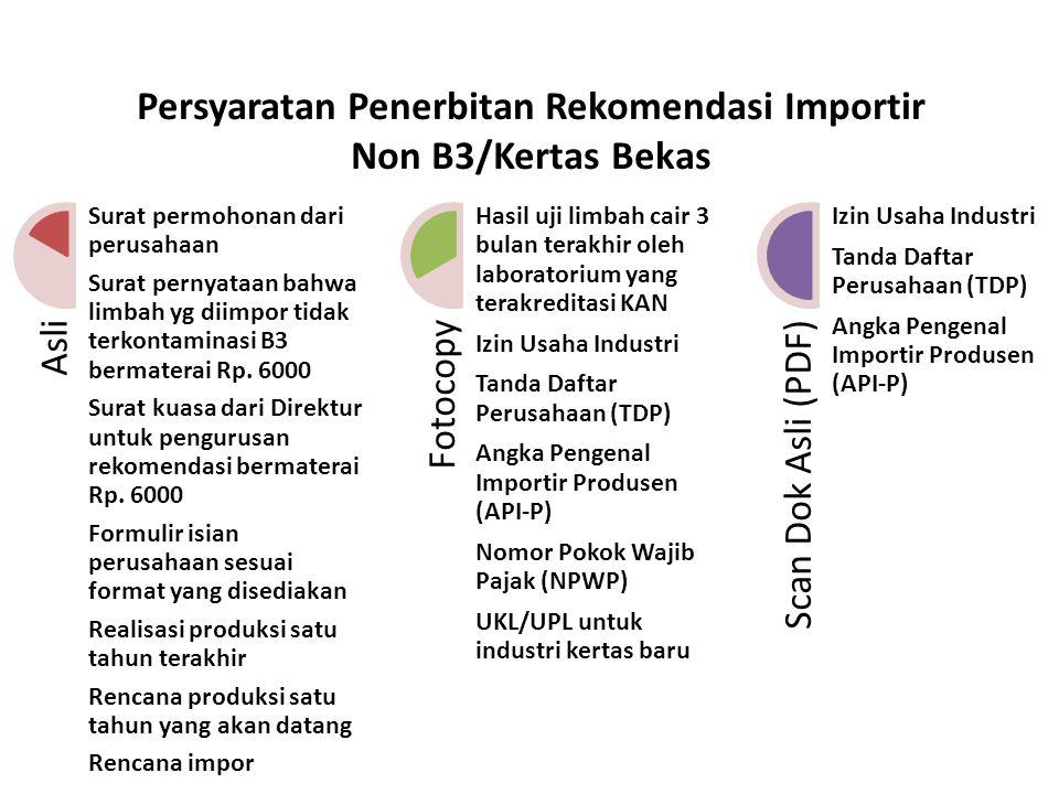 Persyaratan Penerbitan Rekomendasi Importir Non B3/Kertas Bekas Asli Surat permohonan dari perusahaan Surat pernyataan bahwa limbah yg diimpor tidak t