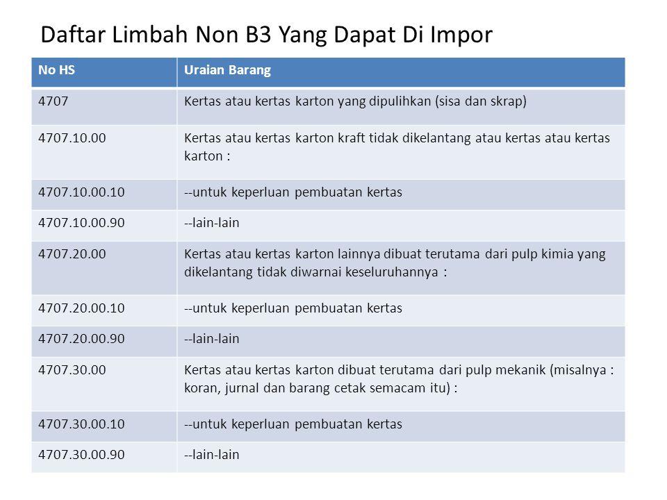 Daftar Limbah Non B3 Yang Dapat Di Impor No HSUraian Barang 4707.90.00-lain-lain, termasuk sisa dan skrap tidak disortir : 4707.90.00.10--untuk keperluan pembuatan kertas 4707.90.00.90--lain-lain