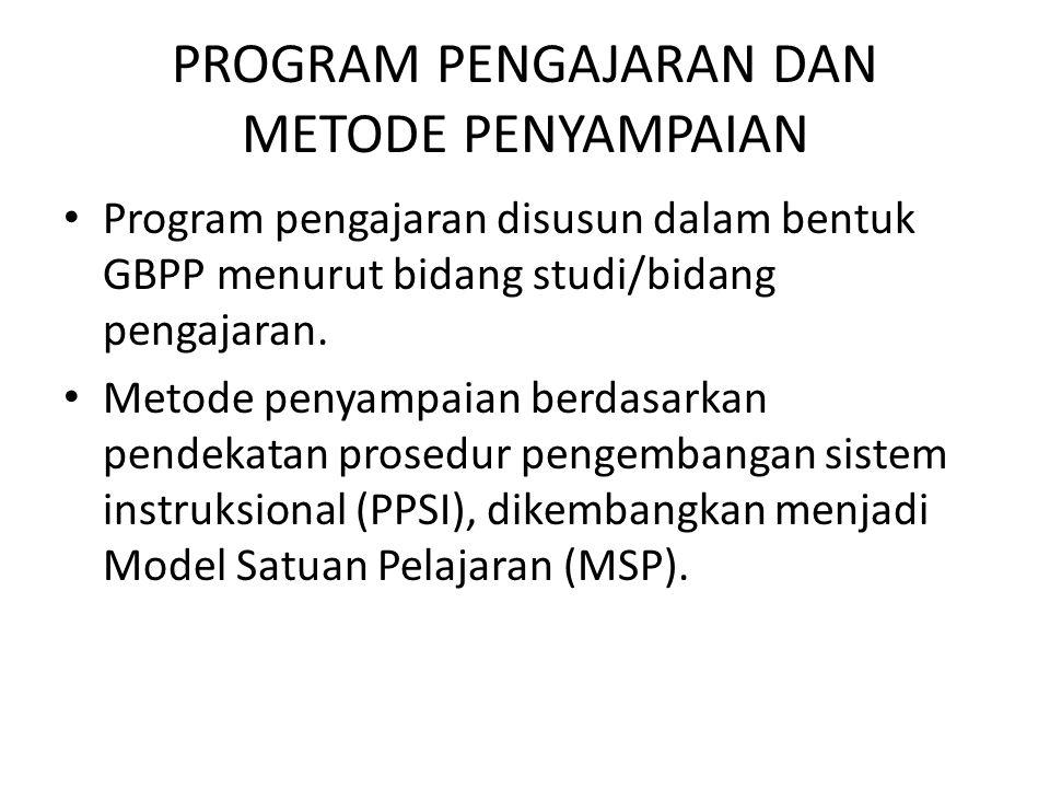 PROGRAM PENGAJARAN DAN METODE PENYAMPAIAN Program pengajaran disusun dalam bentuk GBPP menurut bidang studi/bidang pengajaran. Metode penyampaian berd