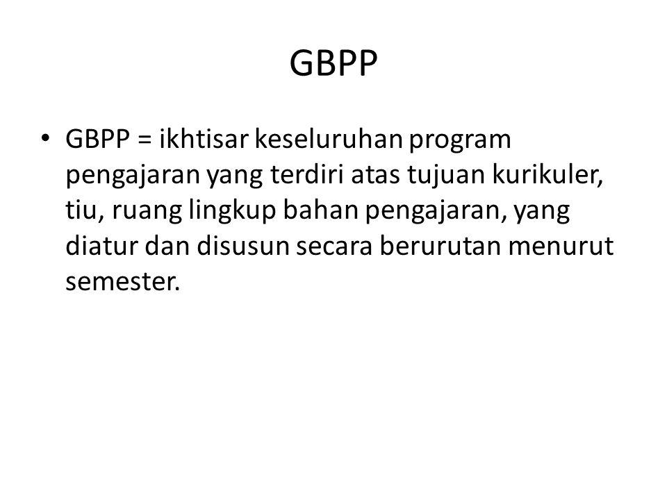 GBPP GBPP = ikhtisar keseluruhan program pengajaran yang terdiri atas tujuan kurikuler, tiu, ruang lingkup bahan pengajaran, yang diatur dan disusun s