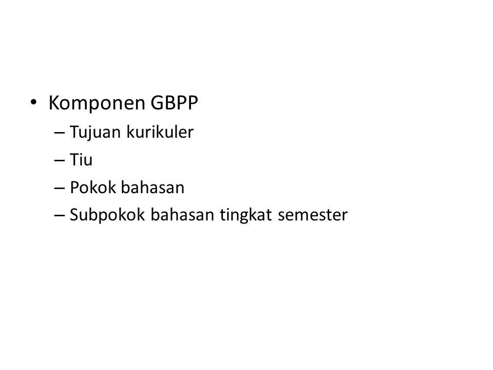 Komponen GBPP – Tujuan kurikuler – Tiu – Pokok bahasan – Subpokok bahasan tingkat semester