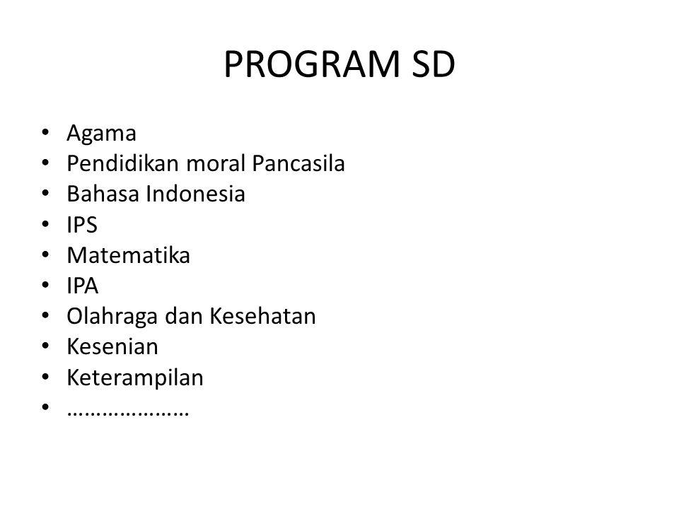 PROGRAM SMP Program Pendidikan Umum Program Pendidikan Akademik Program Keterampilan ……………………….