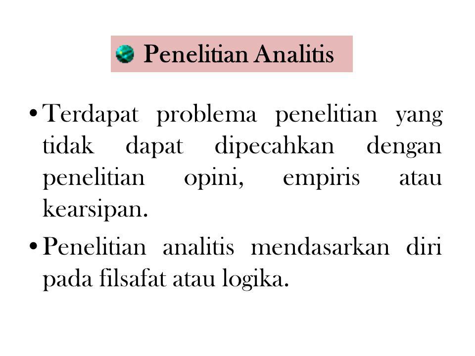 Penelitian Analitis Terdapat problema penelitian yang tidak dapat dipecahkan dengan penelitian opini, empiris atau kearsipan. Penelitian analitis mend