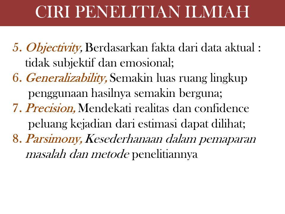 CIRI PENELITIAN ILMIAH 5. Objectivity, Berdasarkan fakta dari data aktual : tidak subjektif dan emosional; 6. Generalizability, Semakin luas ruang lin