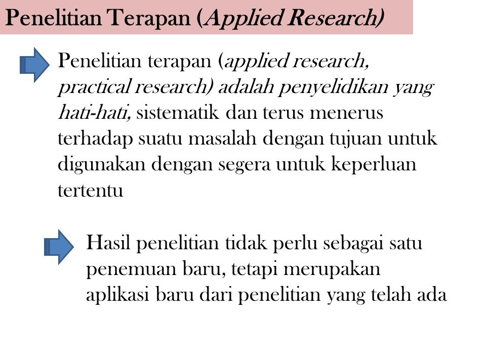 Penelitian Terapan (Applied Research) Penelitian terapan (applied research, practical research) adalah penyelidikan yang hati-hati, sistematik dan ter