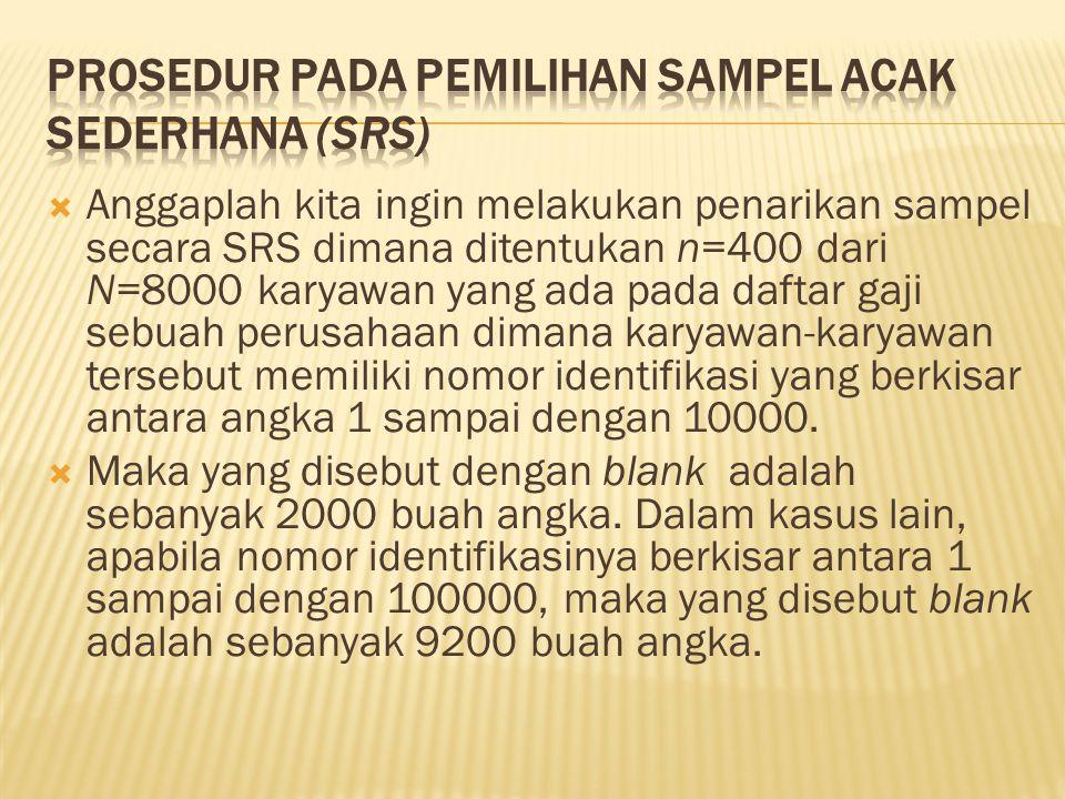  Anggaplah kita ingin melakukan penarikan sampel secara SRS dimana ditentukan n=400 dari N=8000 karyawan yang ada pada daftar gaji sebuah perusahaan