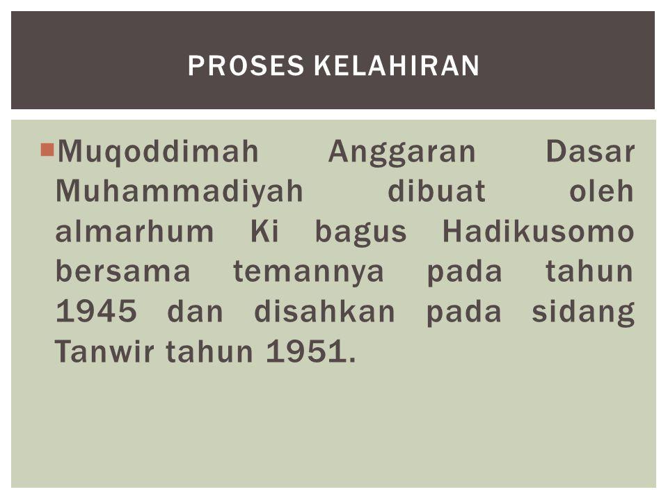  Muqoddimah Anggaran Dasar Muhammadiyah dibuat oleh almarhum Ki bagus Hadikusomo bersama temannya pada tahun 1945 dan disahkan pada sidang Tanwir tah