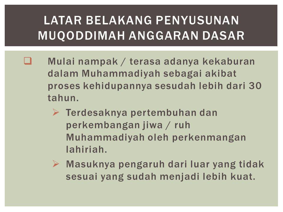  Mulai nampak / terasa adanya kekaburan dalam Muhammadiyah sebagai akibat proses kehidupannya sesudah lebih dari 30 tahun.  Terdesaknya pertembuhan