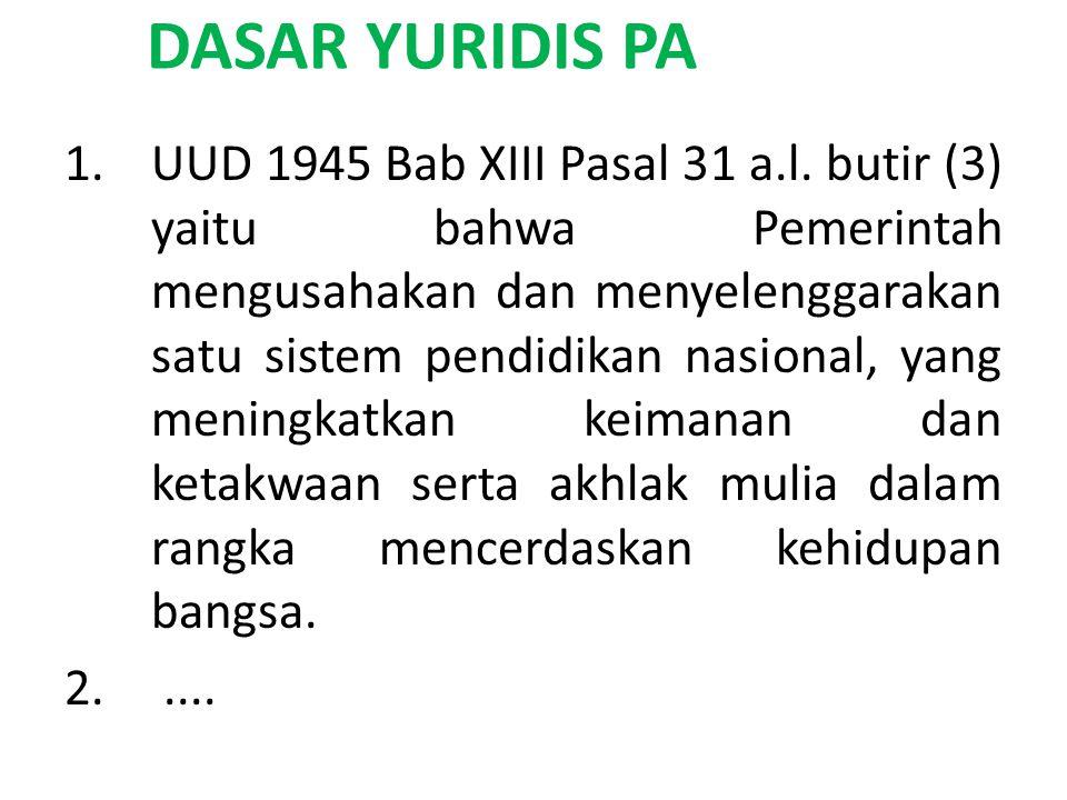 DASAR YURIDIS PA 1.UUD 1945 Bab XIII Pasal 31 a.l.